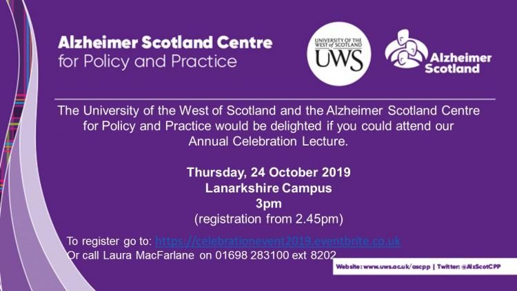 The Alzheimer Scotland Centre for Policy and Practice at the University of the West of Scotland