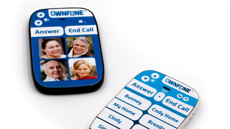 A small and discreet simple mobile phone which has photos or names of the people you can call